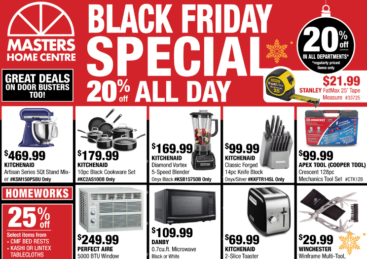 MASTERS HOME CENTRE - BLACK FRIDAY SPECIAL!