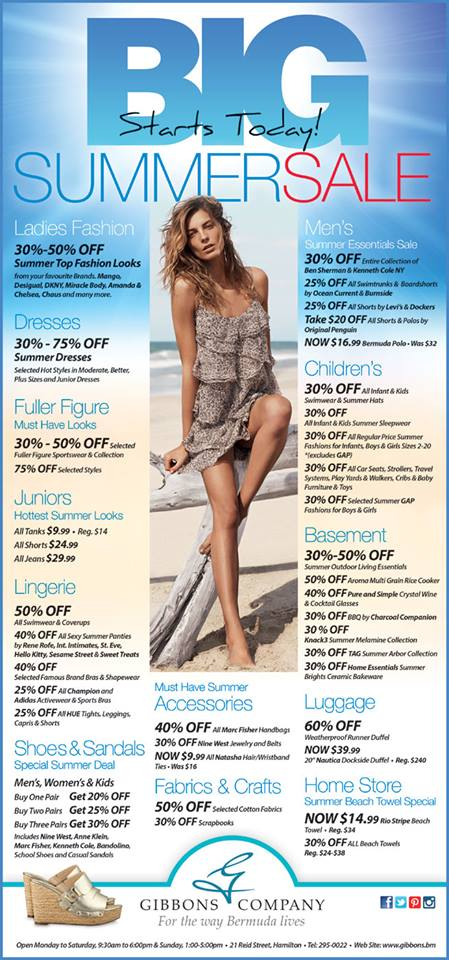 Bermuda Gibbons Company Big Summer Sale