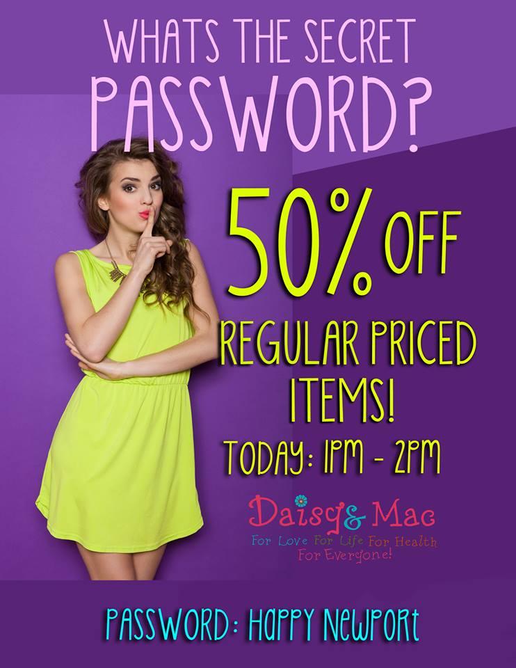 Bermuda Daisy's 50% Off Storewide 1-2pm