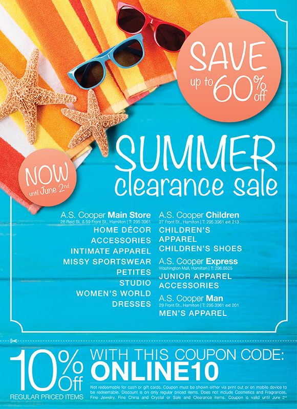 A.S. Cooper 2013 Summer Clearance Sale