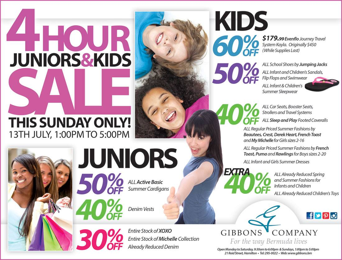 Bermuda Gibbons Company 4 Hour Juniors and Kids Sunday Sal
