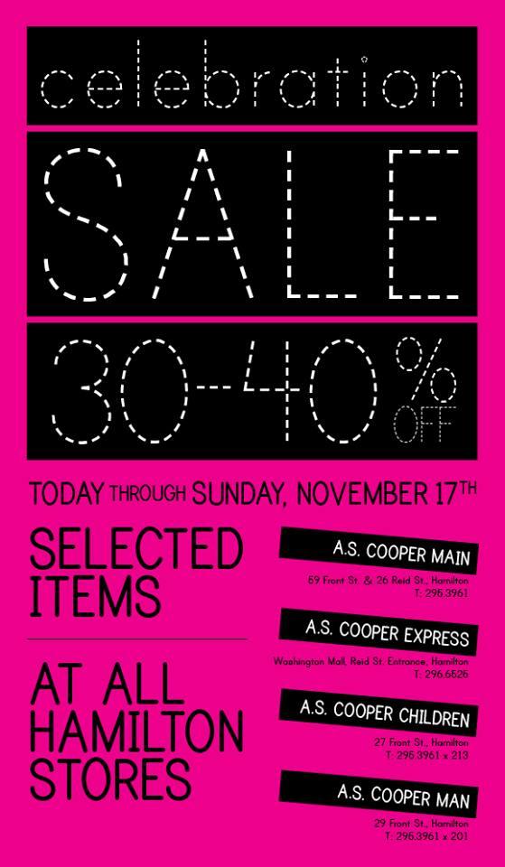 Bermuda A/S. Coopers Celebration Sale