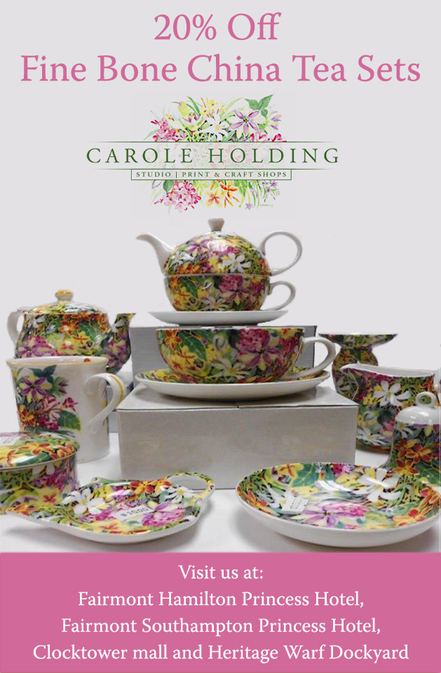 twenty percent off  fine bone china tea sets at carole holding stores