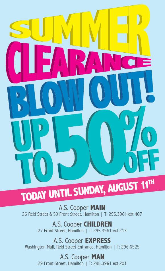 A.S. Coopers Summer Blow-Out Sale