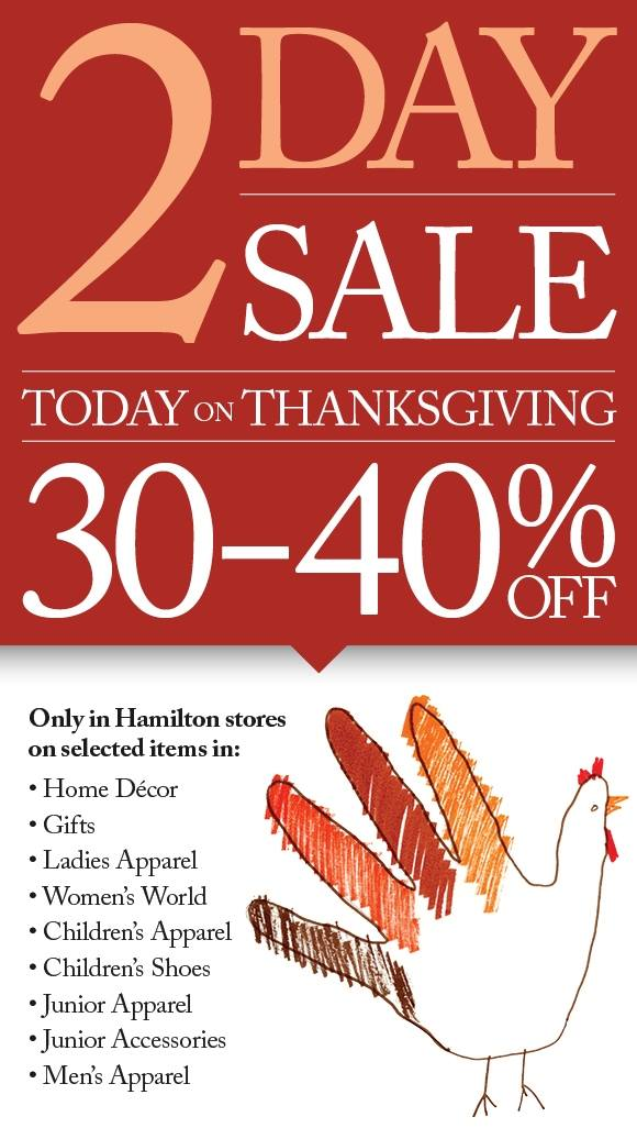 Bermuda A.S. Coopers 2-Day Thanksgiving Sale