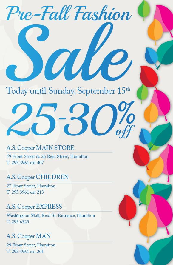 A.S. Coopers Pre-Fall Fashion Sale
